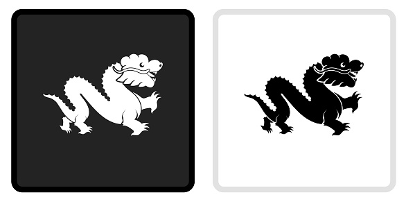 Chinese Dragon Icon on  Black Button with White Rollover