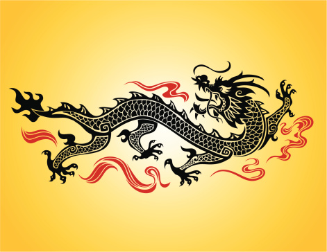 Chinese dragon illustration on a yellow background