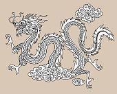 Chinese dragon in flat linear style. Drawing for the coloring book. Vector illustration