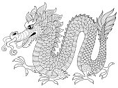 Chinese dragon in zentangle style. Adult antistress coloring page. Black and white hand drawn doodle for coloring book