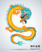 Chinese dragon isolated background