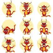 Illustration Of Chinese Dragon Mascot Emoticons Set.