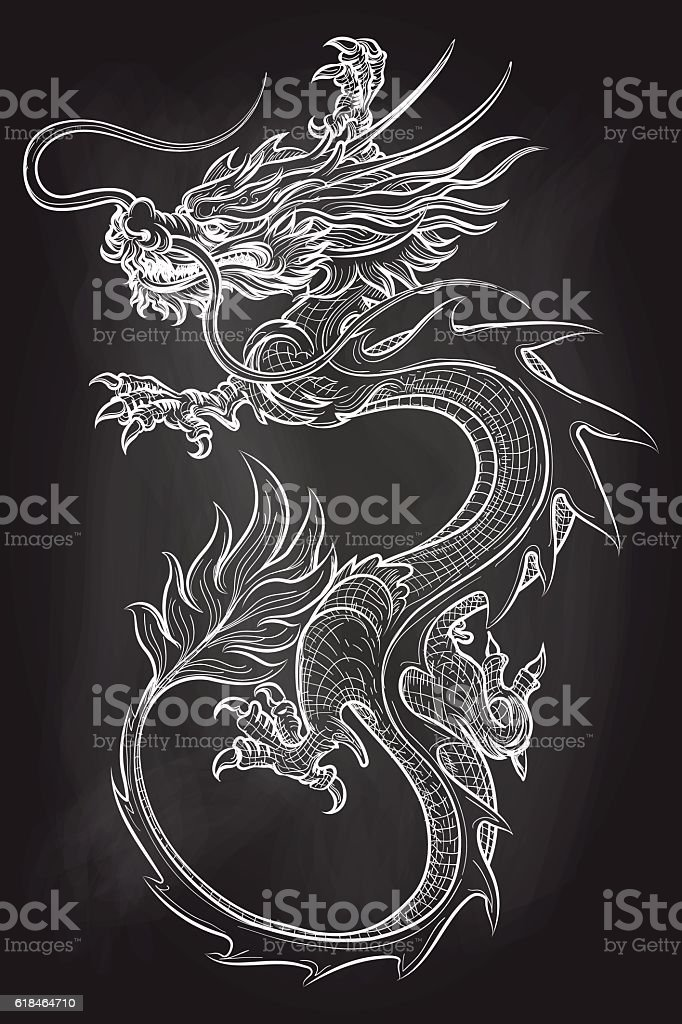 Chinese dragon on chalkboard backdrop vector art illustration