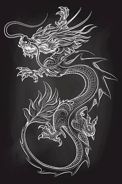 Chinese dragon on chalkboard backdrop - Illustration vectorielle