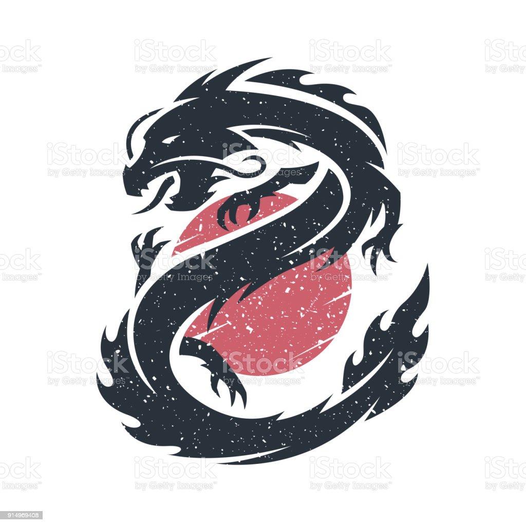 Dragón chino en el fondo del sol. - ilustración de arte vectorial