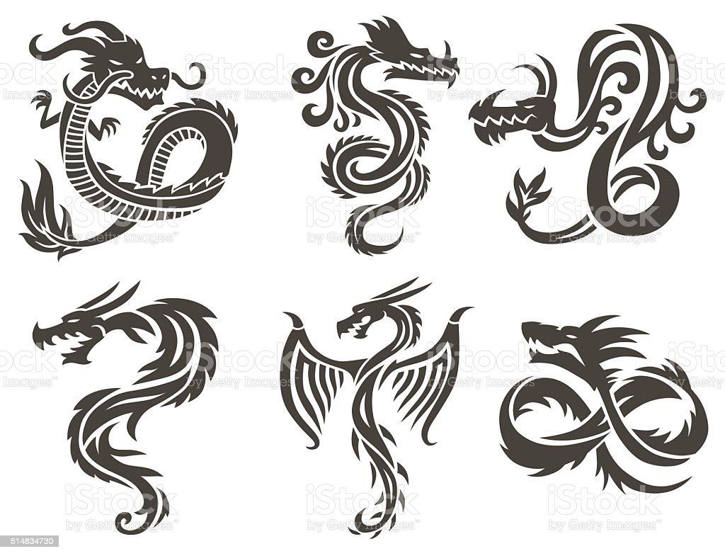 Dragón chino sobre fondo blanco ilustración de vectores - ilustración de arte vectorial