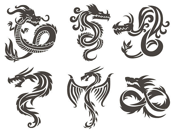 chinese dragon on white background vector illustration - dragon tattoos stock illustrations, clip art, cartoons, & icons