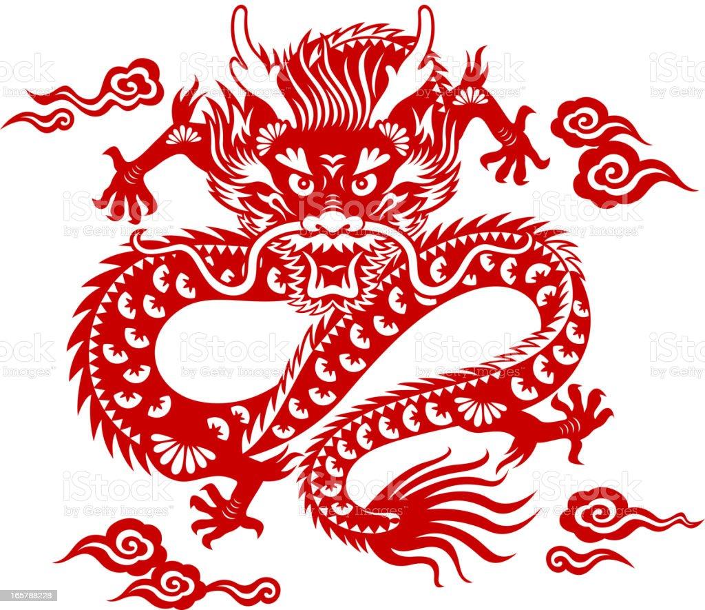 Chinese Dragon Paper-cut Art royalty-free stock vector art