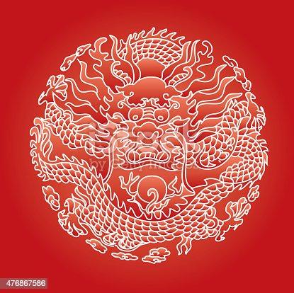 istock Chinese dragon pattern 476867586