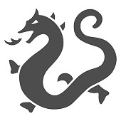 Chinese dragon solid icon, chinese mid autumn festival concept, dragon from legend sign on white background, magic dragon from china icon in glyph style for web design. Vector graphics