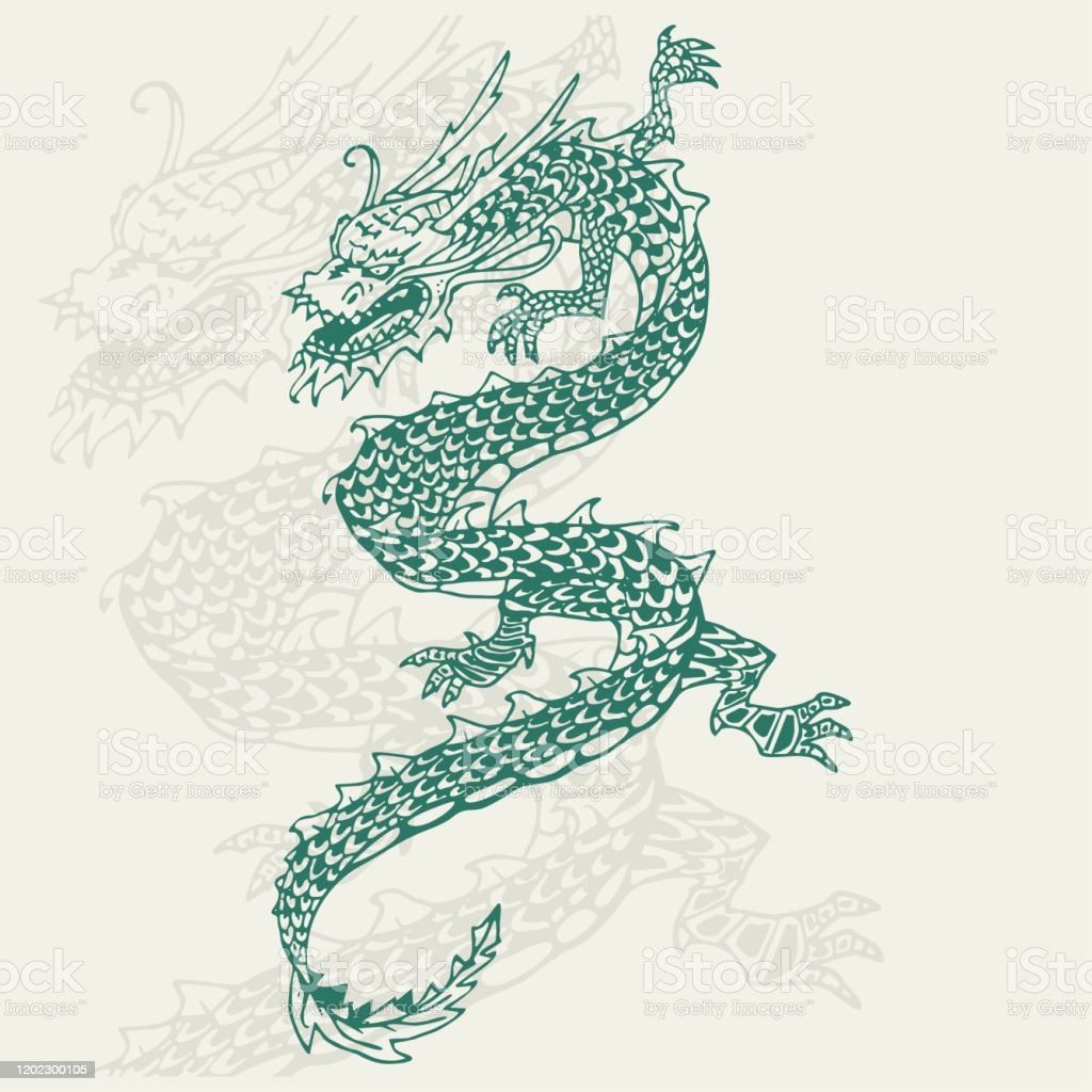 Chinese Dragon Tattoo Hand Draw Vector Illustration Isolated On Background Stock Illustration Download Image Now Istock