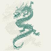 Japanese dragon tattoo vector illustration.