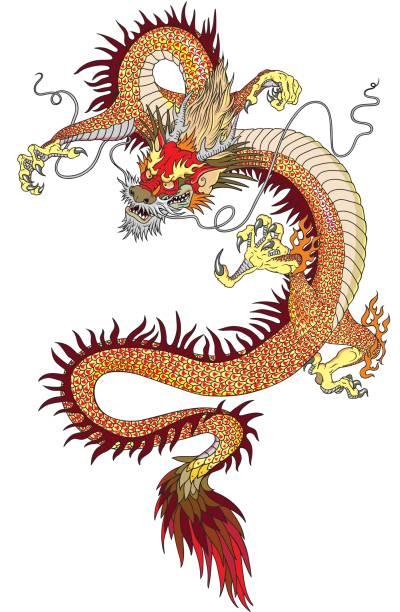 Chinesische Drachen tattoo – Vektorgrafik