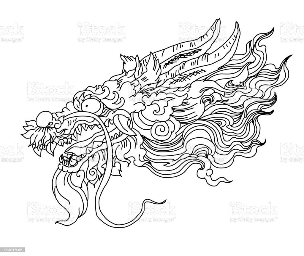 Chinesische Drachen Tattoo Handgezeichnete Zentangle Stil ...