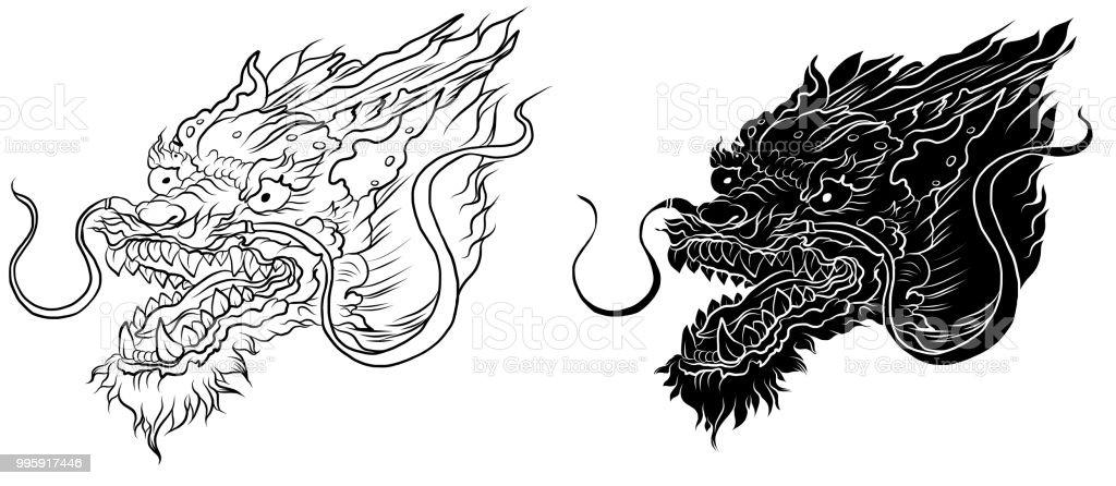 Ilustración De Tatuaje De Dragón Chino Mano Dibujar Zentangle Dragón