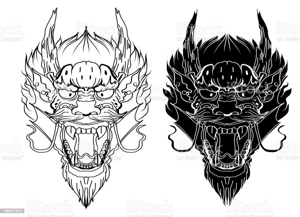 Ilustración de Tatuaje De Dragón Chino Mano Dibujar Zentangle Dragón ...