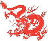 Chinese dragon silhouette, 2012 is the Year of the Dragon