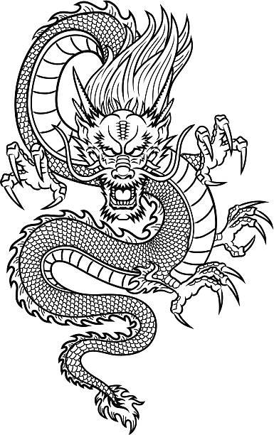 中国の竜 - アジアのタトゥー点のイラスト素材/クリップアート素材/マンガ素材/アイコン素材