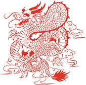 Red chinese dragon, 2012 is the Year of the Dragon