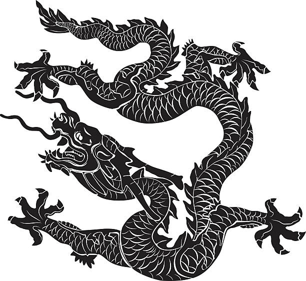 illustrations, cliparts, dessins animés et icônes de dragon chinois - tatouages dragons