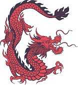 Chinese Dragon in vintage red color,