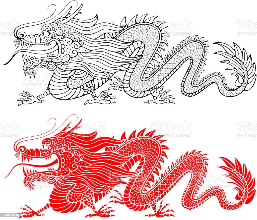Chinese Dragon vector art illustration