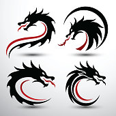 Chinese dragon silhouette flat color logo design, vector illustration