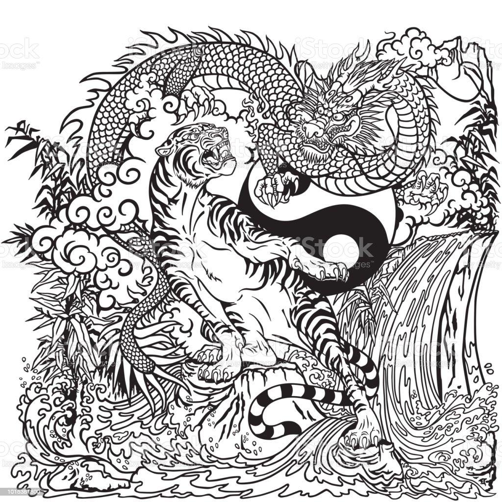 chinesischer drache gegen tiger yin yang schwarz wei stock vektor art und mehr bilder von asien. Black Bedroom Furniture Sets. Home Design Ideas