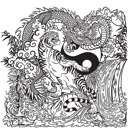 Chinese dragon versus tiger yin yang black and white