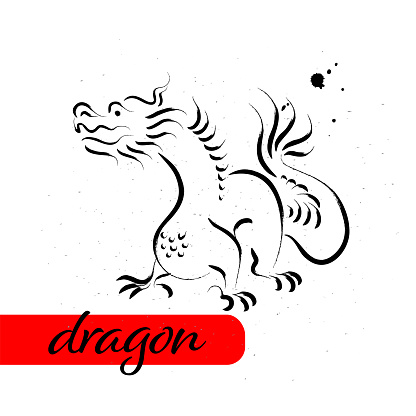 Chinese dragon year calendar animal silhouette isolated on white textured background.
