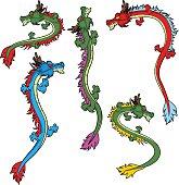 Various pose of chinese dragons