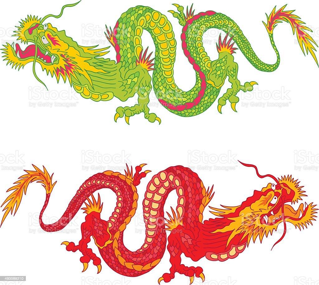 Ilustración De Dragones Chinos Y Más Banco De Imágenes De 2015