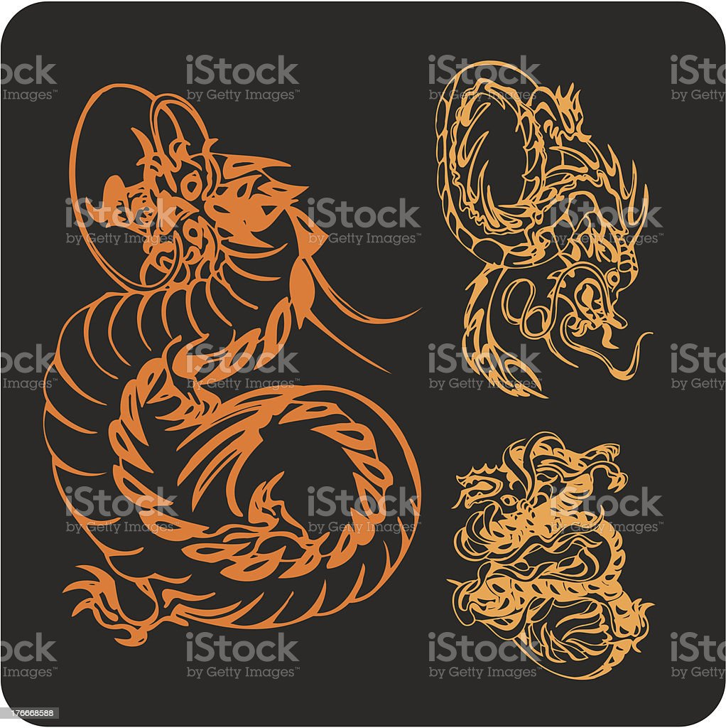 Chinese Dragons - vector set. royalty-free chinese dragons vector set stock vector art & more images of animal