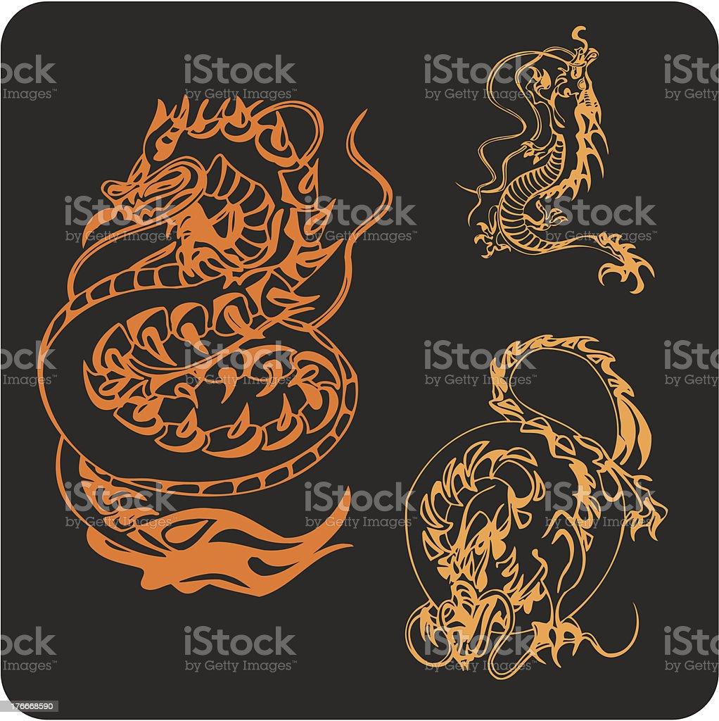 Dragones chinos-vector conjunto. ilustración de dragones chinosvector conjunto y más banco de imágenes de animal libre de derechos