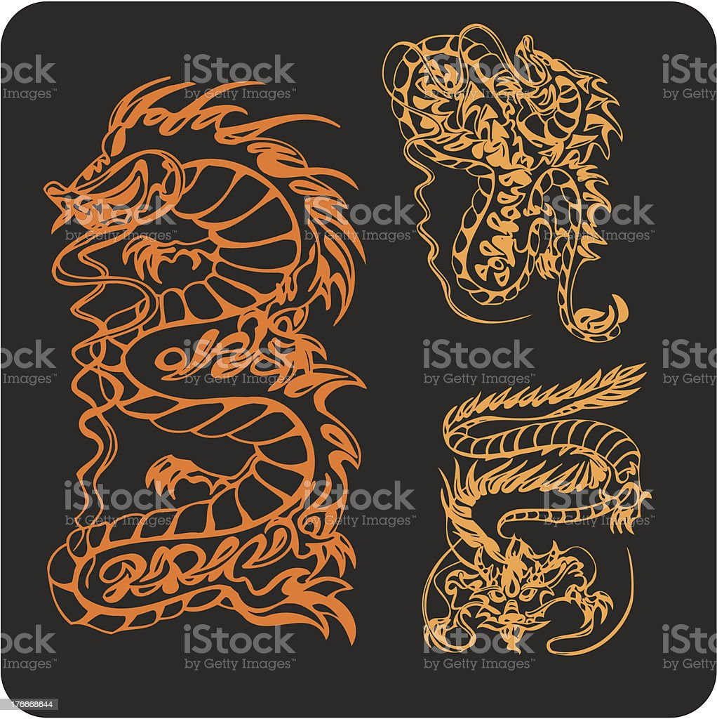 Chinese Dragons - vector set. royalty-free chinese dragons vector set stock vector art & more images of animal