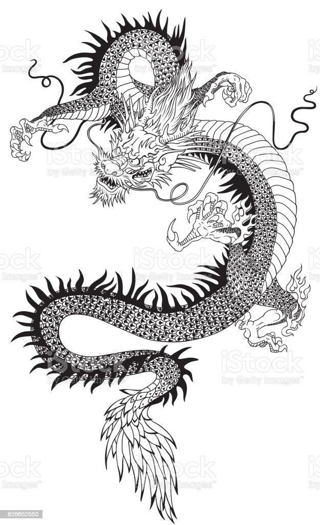 Dtagon chino negro blanco - ilustración de arte vectorial