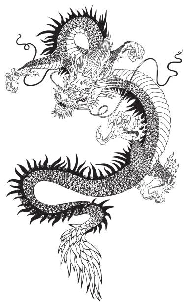 chinese dtagon black white - dragon tattoos stock illustrations, clip art, cartoons, & icons