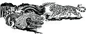 Chinese East Asian dragon versus tiger . Two spiritual creatures in the Buddhism representing the spirit heaven and matter earth. Black and white graphic style vector illustration