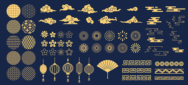 Chinese elements. Asian new year gold decorative patterns and lanterns, flowers, clouds and ornaments traditional oriental style vector set