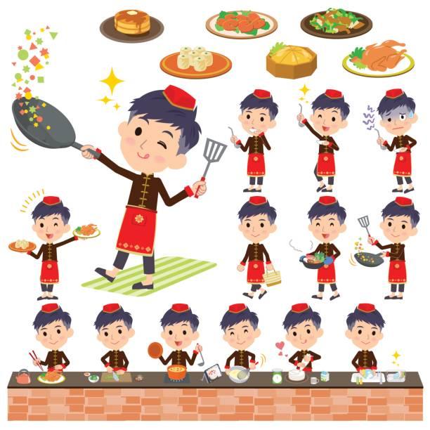 中国の民族服男の料理 - 和食点のイラスト素材/クリップアート素材/マンガ素材/アイコン素材