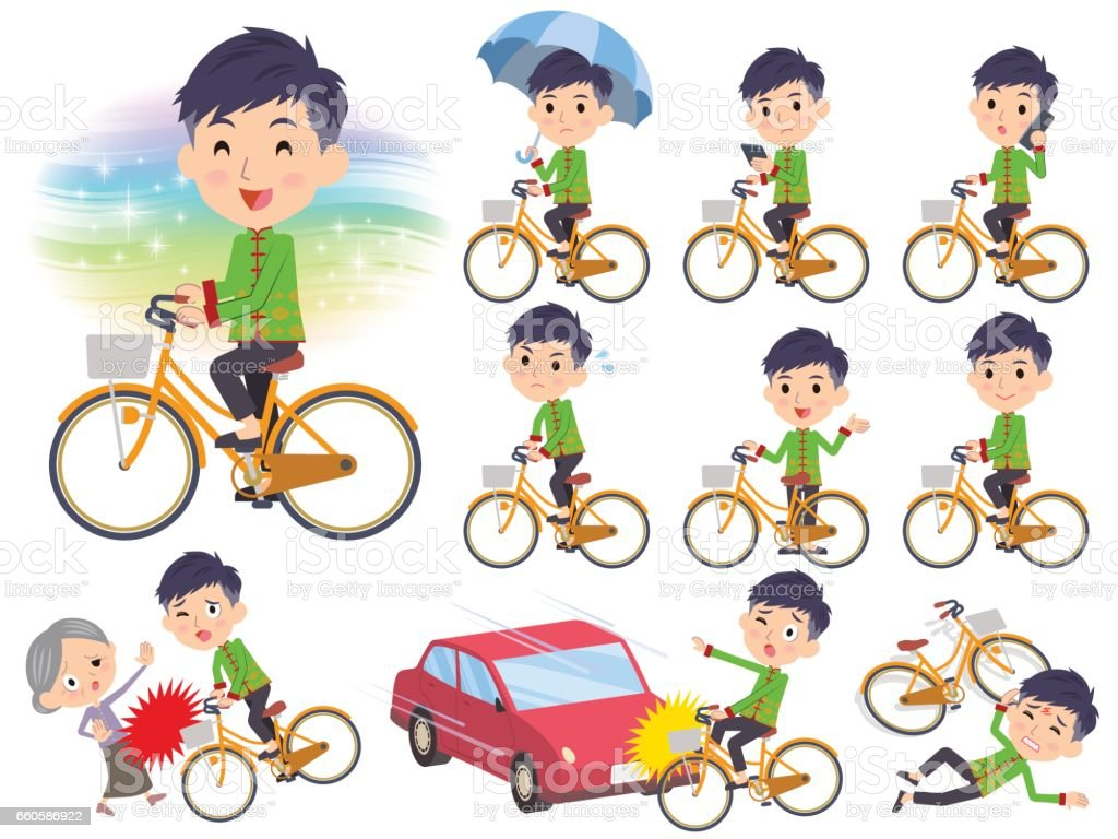 Chinese ethnic clothing man ride on city bicycle royalty-free chinese ethnic clothing man ride on city bicycle stock vector art & more images of bicycle