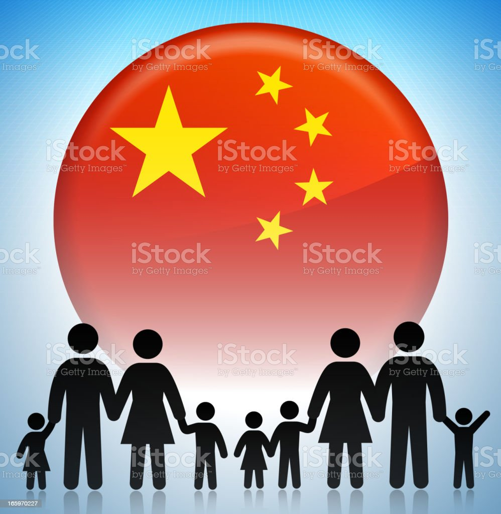 Chinese Family Concept Stick Figures vector art illustration