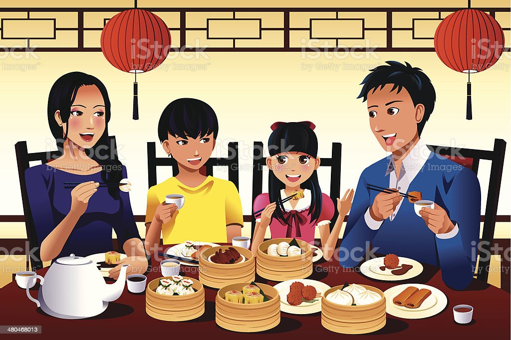 Chinese family eating dim sum vector art illustration