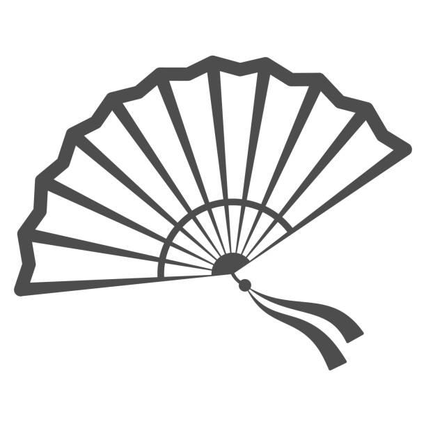 illustrazioni stock, clip art, cartoni animati e icone di tendenza di icona della fan line cinese, concetto di festival cinese a metà autunno, fan tradizionale con nastri firmano su sfondo bianco, ventilatore aperto dall'icona della cina in stile contorno per il web design. grafica vettoriale. - souvenir