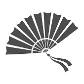 Chinese fan solid icon, chinese mid autumn festival concept, traditional fan with ribbons sign on white background, open fan from china icon in glyph style for web design. Vector graphics
