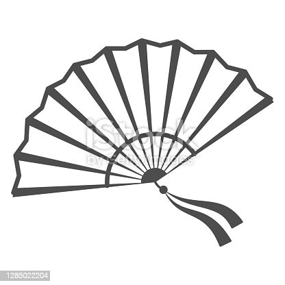 istock Chinese fan thin line icon, chinese mid autumn festival concept, traditional fan with ribbons sign on white background, open fan from china icon in outline style for web design. Vector graphics. 1285022204
