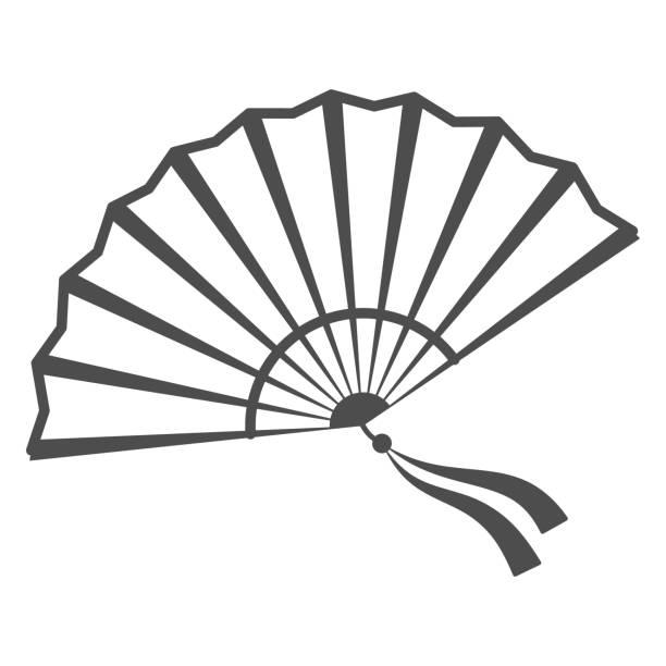 illustrazioni stock, clip art, cartoni animati e icone di tendenza di icona della linea sottile fan cinese, concetto di festival cinese a metà autunno, fan tradizionale con nastri segno su sfondo bianco, ventilatore aperto dall'icona della cina in stile contorno per il web design. grafica vettoriale. - souvenir