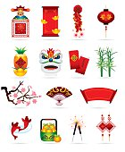Vector illustration of  chinese icons for festive greeting