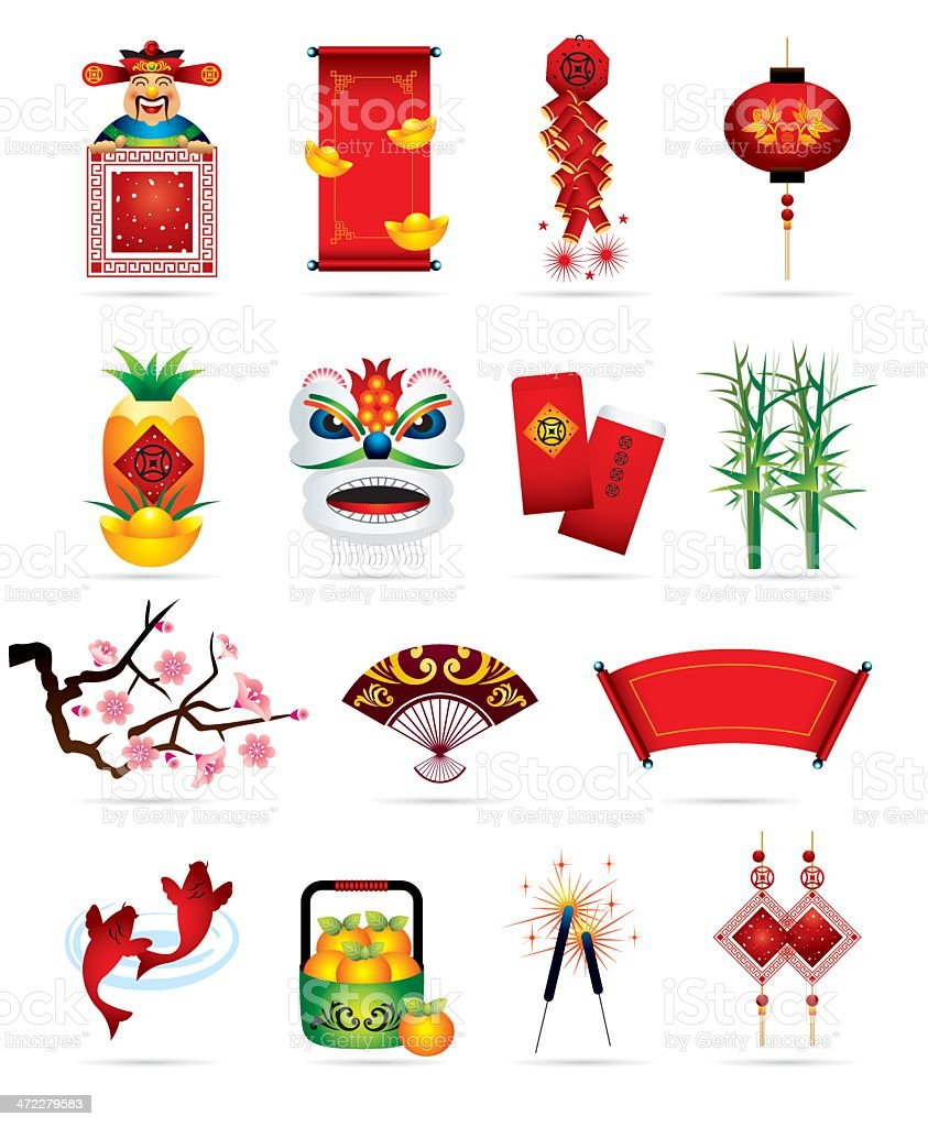 Chinese Festive Icons vector art illustration
