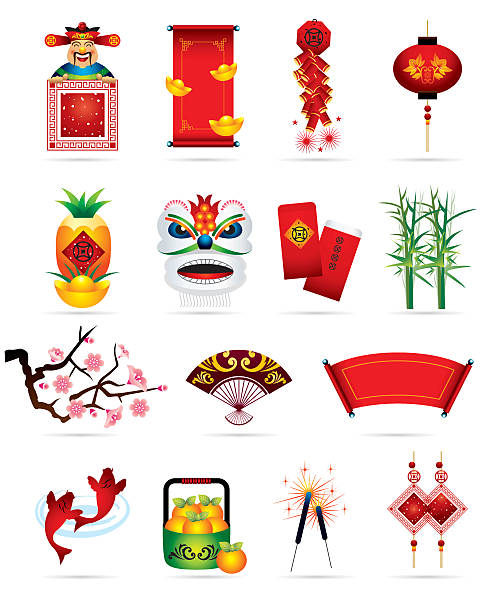 chiński ikony świąteczne - chinese new year stock illustrations